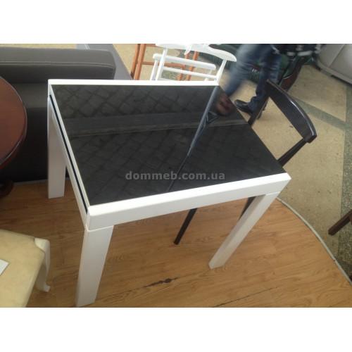 Стол раскладной белый Стекло чёрное
